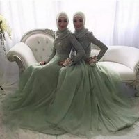 Wholesale white shirt scarf resale online - 2018 Mint Muslim Lace Appliques Bridesmaid Dresses Without Scarf High Neck Long Sleeves Sweep Train Maid Of Honor Gowns Formal Evening Wear