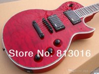 Wholesale Quilted Maple Top Guitar - Custom LTD EC-1000 Deluxe Red Crimson Quilted Maple Top Electric Guitar EMG Pickups Black Hardware Abalone Body Binding Top Selling