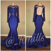 vestido alto em lantejoulas venda por atacado-2018 Sereia Da Moda Azul Royal Ver Através de Vestidos de Baile de Alta Collar Frisada Longo Mangas Vestidos de Festa À Noite robe de soirée BA7863
