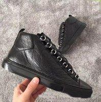 venda de sapatos masculinos de couro venda por atacado-2018 venda Quente Homens Clássico Genuine Leather Arena Apartamentos Flats Sneakers Masculino High Top Sapatos de Moda de Luxo Casual Lace Up Sapatos Tamanho 38-46