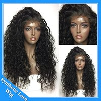 Wholesale kinky cosplay online - Fashion cosplay wig Loose Kinky Curly Synthetic Lace Front Wig Black Color Afro Curly Heat Resistant Synthetic Hair Wigs With Baby Hair