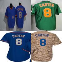 Wholesale Womens Camo Shorts Xl - Wholesale 2016 New sport Jersey Mens Womens Kids 18 Gary Carter New York Green Blue Camo Hot sale Baseball Jerseys Accept Mix Order