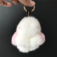 ingrosso bambola reale bianca-Magicfur - 8 cm Vera pelliccia di visone Coniglio Mini Bunny Bianco W Rosa portachiavi bambola borsa borsa portachiavi auto portachiavi telefono ciondolo