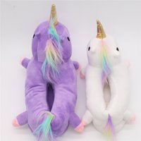 çocuk kış terlikleri toptan satış-Kadın ve Çocuk Kış Sıcak Yumuşak PP Cotton House Ayakkabılar 2pcs / lot Ebeveyn-çocuk tarzı Unicorn Ev Terlik licorne Fit Cosplay unicornio