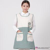 koreanische mode schürze großhandel-Umweltfreundlich Schürze Fashion Korean Schürze Schürzen Frau ärmel Maid Schürzen Stain Resistant Barber Schürze Green Grid und Blume