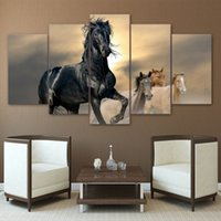 panel de pared marrón arte al por mayor-Moderno HD Impreso Wall Art Pictures 5 Panel Negro y Marrón Caballo Marco de la Decoración Del Hogar Pintura de la Lona Poster Para la Sala de estar