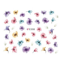Wholesale 3d decals for nails - Art Stickers Decals 1 PCS Hot Designs 3d Water Purple Beautiful Flower Sticker Nail Art Sticker Nail Foils for DIY Manicure Decorations E...
