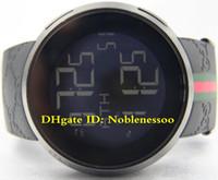 reloj de pulsera de goma para hombre al por mayor-Calidad superior EN CAJA original Hombre 114 Negro PVD Correa de caucho 44mm Digital YA114207 PULSERA DE GOMA CUARZO DEPORTIVO Relojes de lujo