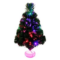 Wholesale Led Fiber Optic Christmas Trees - 45cm Fashion Mini Christmas Tree Fiber Optics Artificial With LED And Stand For New Year Decoration Supplies T15