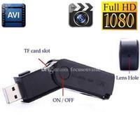 sürüş rekoru kamera toptan satış-MINI USB Disk kamera Full HD 1080 P USB Flash Sürücü Kamera desteği şarj ederken kaydederken U-disk DVR mini ses video kaydedici siyah M2