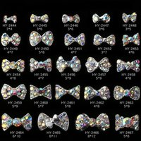 Wholesale 3d bows alloy nail resale online - 500pcs Nail Stickers Nail Art D Alloy Metal Crystal Decoration Diamond Cellphone Rhinestone Glitter Charms Jewelry Crown Bow Christmas