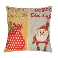 mavi şeker poşetleri toptan satış-Yeni Stil Keten Noel Yastık Kılıfı Noel Baba Şeker Çanta Yastık Örtüsü Yastık Festivaller Dekorasyon