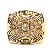 anillo de 1998 al por mayor-Anillo de los hombres de moda 1998 TULANE C.USA CHAMPS RINGS #ELZYFactory Envío rápido