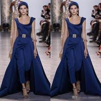 marineblaue overalls großhandel-Navy Blue Prom formale Overall mit Zug 2018 bescheidene Elie Saab Scoop plus Größe benutzerdefinierte machen Anlass Abend Gelegenheit tragen Kleider