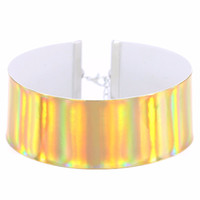 Wholesale statement necklaces resale online - colorful holographic choker necklace women statement necklace rainbow tattoo choker holografico chocker fashion jewelry