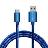 paño micro usb cable al por mayor-Deminna alta velocidad USB tipo C Cable Micro USB cable trenzado de nylon resistente 1.2M de tela para el teléfono elegante androide