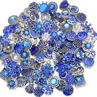 botones azules mezclados al por mayor-Mezcla Noosa Chunks Snap Button jewelry Blue Crystal 18mm Snap Buttons para Snap Button Bracelet Necklace Earrings