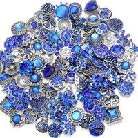 boutons bleus mélangés achat en gros de-Mixte Noosa Chunks Snap Button bijoux Blue Crystal 18mm Snap Boutons Pour Snap Bouton Bracelet Collier Boucles D'oreilles