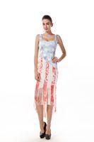 ingrosso donne americane della maglia della bandiera-Abiti estivi all'ingrosso Classic American Flag Print Dress Beach 2019 donna Casual Nappa Gilet Abiti da festa Street Wear abiti M283