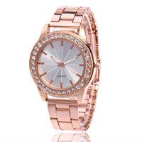 точные часы оптовых-Trendy Women Crystal Quartz Watch Lines Pattern  Stainless Steel Strap Round Dial Precise Watches Exquisite Workmanship