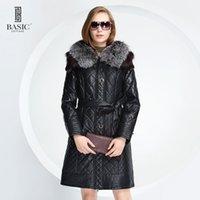 Wholesale leather mink coats women - BASIC EDITIONS Winter Women Faux Leather Mink and Fox Fur Hood Slim Fit Leatherette Parka Jacket Quilt Cotton Coat - D13058