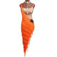 ingrosso giovani signore-Abiti da ballo latino sexy per le signore abiti da cocktail arancione abiti giovani donne ballroom tutu nappa DM1035