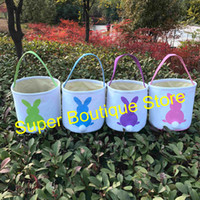 Wholesale Wholesale Canvas Bucket - Hot selling new arrival canvas easter tail buckets wholesale kids easter gift buckets tote bags monogram personalized Easter basket
