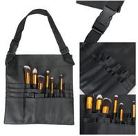 escova escova correias venda por atacado-Cool Black Dois Arrays Escova da composição Suporte Suporte de 24 Pockets Strap Belt cintura Bag Salon maquilhador Escova organizador