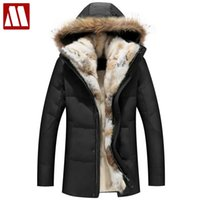Wholesale Jacket Rabbit Fur Hoods - 2017 Winter Unisex Down Jackets Detachable Fur collar Hooded Coat Warm Outwear Real Rabbit Raccoon Hood Women Men Thick Coats