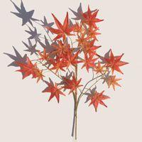 decoração da folha de bordo venda por atacado-Simulação Verde Plantio De Plástico Flor Artificial Vermelho Maple Leaf Grande Árvore Decorar Ramo De Seda Decoração Do Partido 3 6dd Ww