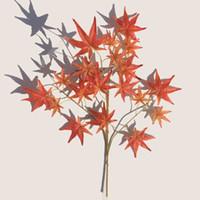 grandes plantes artificielles achat en gros de-Simulation Vert Plantation En Plastique Fleur Artificielle Feuille D'érable Rouge Grand Arbre Décorer Branche De Soie Parti Décor 3 6dw Ww