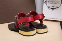 Wholesale Cloth Slippers - Square toe word flat color mixed color clip toe stripe sandals slippers horsebit sandals fashion models metal buckle