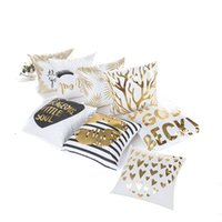 Wholesale blue pattern cushion - Bulk Lots 45*45cm 10 Styles Gold Patterns Cushion Covers Bedroom Seat Christmas Gifts Home Decor Kitchen Accessories Party Decoration