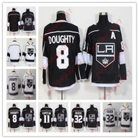 venta de camisetas de hockey en blanco al por mayor-Venta caliente Los Angeles Kings Hombres Juveniles Mujeres 11 Anze Kopitar 8 Drew Doughty 32 Jonathan Quick Blanco Blanco Hockey negro Jerseys