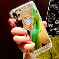 Wholesale galaxy case handmade - Handmade Bling Diamond Crystal Holder Case With Stand Kickstand Mirror Cover Case For iPhone X 8 Plus 7 6 6S Samsung Galaxy S9 S8 Note 8