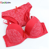 Wholesale Orange Underwire Bra - Xiushiren Retro Floral Bra Sets Plus Size Rural design sujetador encaje set Red bh 40D 40DD 42D 42E 44D 44DD 44E 46D 46DD DE0019
