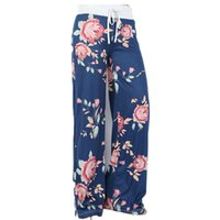 Wholesale plus woman yoga pants online - yoga pants Ladies floral yoga palazzo trousers womens summer wide leg pants black gray plus size S XL