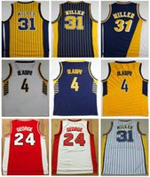 Wholesale victor shirt - Throwback Uniforms Men's 31# Reggie Miller Jersey Stitched Reggie Miller shirts 4# Victor Oladipo High Quality Paul George College Jersey