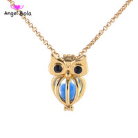 Wholesale diy gemstone necklace - 5   lot Wholesale 3 Color Styles Stock 18kgp Fashion Lucky Owl Cage DIY Pearl   Gemstone Bead Pendant Cage Pendant Necklace