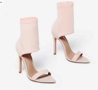 nackte sandale hochhackige schuhe großhandel-2018 Frauen Stassi Pointed Cuff Heel Lycra Sandalen Hochzeit Schuhe High Heels Sandalen offene Zehen nackt Sandalen Party Schuhe Dame