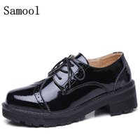 Wholesale Lace Up Oxford Platform Creepers - 2017 High Quality Genuine Leather Women Oxfords Flats Platform Shoes Patent Leather Lace-up Pointed Creeper Brogue Shoes