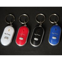 Wholesale keychain whistle locator - Hot sale Anti Lost LED Key Finder Locator 4 Colors Voice Sound Whistle Control Locator Keychain Control Torch Card Blister Pack HH7-926
