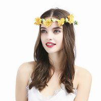 Wholesale Floral Hairband Fashion Boho Style Wedding Bridal Hair Accessories Flower Headband Artificial Flower Crown Handmade Product