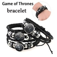 Wholesale Game Day Bracelet - Game of Thrones Leather Bracelet House Stark Jewelry Black Multilayers Charm Bracelets for Women Men