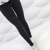 гетры с черным лодыжком оптовых-New Summer Sexy Leggings Women Torn Ripped Hole Ankle Length Pant Leggings New  Women Clothing Black S-XXL Trousers 6Q1906