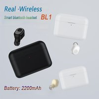Wholesale small mini power bank online - New upgrade mAh Charging box Wireless Bluetooth headphones earbuds Mini Invisible BL1 Earphone Small Single Headset as power bank PK i7s