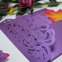 enveloppes violet foncé achat en gros de-Tri-fold poche carte d'invitation de mariage de luxe avec enveloppe rsvp décoration flore pourpre foncé moderne laser coupe invitation papier