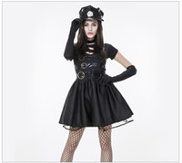 Wholesale sexy women cosplay police online - New Style Halloween Women Police Officer Cops Uniform Gothic Punk Black Patchwork Dress Sexy Policewoman Cosplay Costume
