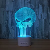 Wholesale Speaker Dc - 3D Illusion Lamp 3D LED Light Bluetooth Speaker with 5 RGB Lights TF Card Slot DC 5V USB Charging Wholesale Dropshipping