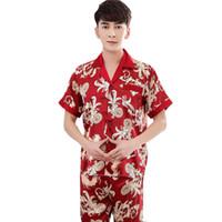 calças de cetim chinês venda por atacado-Verão Masculino Nightwear Casa Desgaste Do Vintage Homens Chineses Pijama de Cetim Set Pijama Camisa de Manga Curta calças de Impressão Dragão Sleepwear